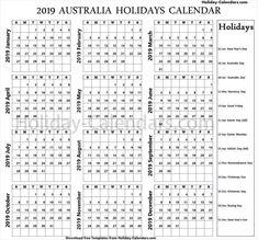 20 Best Holidays Calendar 2019 images