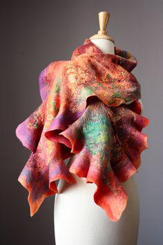 Nuno Felted scarf  Wool  silk  collage  ruffled by VitalTemptation, $129.00