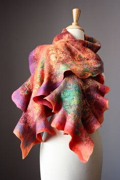 Nuno Felted scarf  Wool  silk  collage  ruffled by VitalTemptation, $129.00
