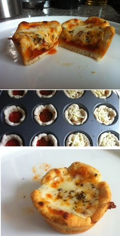 Quick and easy appetizer that's perfect for last-minute potlucks or parties.! <3 Pizza cupcakes <3--follow me (Hannah Hunter Seagraves) for more interesting pins, I follow back #follow #followme #followback #food #snacks #fingerfoods #yummy #pizza #cupcakes