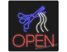 "L6004 - Open Hair Cut LED Sign (Size 16""H X 16""L X 1""D) Led Open Sign, Open Signs, Sign Solutions, Open Hairstyles, How To Attract Customers, Hair Cut, Size 16, Decor, Decorating"