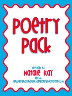 Poetry unit. It's everything you need to teach a 3 week unit about Poetry! This is perfect for grades 3-5, but could easily be adapted for first and second grades too!
