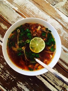 Discovering Asia. A mushroom and rice noodle soup with peppers, ginger, soy beans and lime.