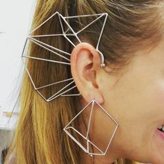 Nina Berenato Jewelry Matrix ear cuff geometric design modern feminist earring silver.