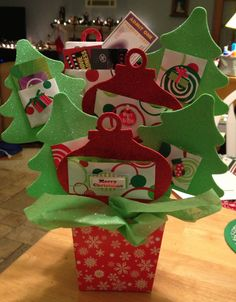 Gift Card Tree - made with dollar items from Target, wrapping paper, craft foam, kabob sticks and hot glue. I added some clearance stickers to a few.
