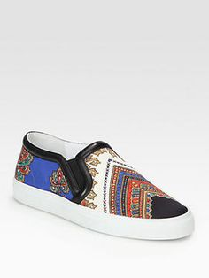 shopstyle.com: Givenchy Canvas Print & Leather Slip On Sneakers