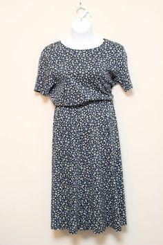 Lands End Navy Blue Floral Fit and Flare Jersey Knit Dress Size XL 18-20 #LandsEnd #FitandFlare