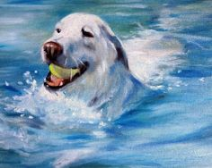 Original Oil Painting by Mary Sparrow from Hanging the Moon Studio up for auction on Ebay http://www.ebay.com/itm/SPARROW-yellow-labrador-retriever-lab-dog-painting-swimming-pool-water-original-/390584184890?pt=Art_Paintings=item5af0a1b03a