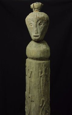 """Huge and old Aitos statue - West Timor -  tribal artifact 154cm/61"""" 23 kg"""
