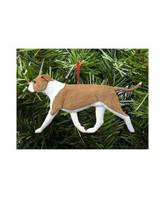 860391fdbb Hand Painted Carving Pit Bull Christmas Ornament – Fawn and White