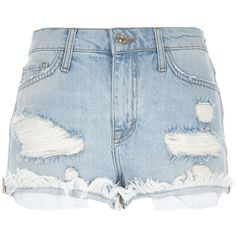 River Island Light wash distressed Ruby denim shorts ($18) ❤ liked on Polyvore featuring shorts, bottoms, short, river island, blue, sale, distressed denim shorts, denim shorts, blue denim shorts and jean shorts