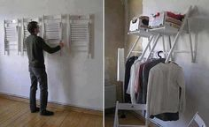 Chair closet  (handimania) I like this! I have 2 chairs similar to these. Great for those places with no closet.