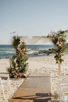 The team at Amy Abbott Events are renowned for being creative Los Cabos Wedding Planners. White Wedding Arch, Indoor Wedding Arches, Wedding Arch Rustic, Wedding Ceremony Arch, Green Wedding, Surf Wedding, Boho Beach Wedding, Beach Wedding Flowers, Hotel Wedding
