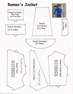 """Sewing pattern for making a """"Romeo Jacket"""" for a Ken doll."""