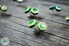 Stud pencil earrings Green studs Hexagonal shape Sterling  #studpencilearrings Resin Jewelry, Fett, Studs, Geek Stuff, Pencil, Stud Earrings, Shapes, Cosmetics, Turquoise