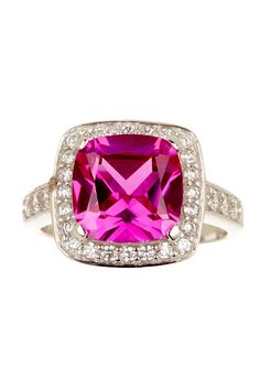 Savvy Cie | White CZ & Simulated Pink Sapphire Cushion Shape Ring | Nordstrom Rack