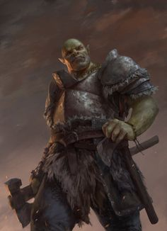 Random Fantasy/RPG artwork I find interesting,(*NOT MINE) from Tolkien to D&D. Fantasy Warrior, Orc Warrior, Fantasy Races, Fantasy Rpg, Medieval Fantasy, Dark Fantasy, Warrior High, Dungeons And Dragons Characters, Dnd Characters