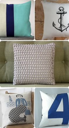 Nautical Decor with Pillows! Holly we could make these.