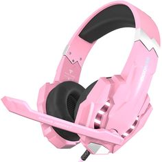 BENGOO Stereo Gaming Headset for PC Xbox One Controller Noise Cancelling Over Ear Headphones Mic LED Light Bass Surround Soft Memory Earmuffs for Laptop Mac Nintendo Switch Games - Pink Cute Headphones, Gaming Headphones, Sports Headphones, Over Ear Headphones, Gaming Headset, Wireless Headset, Gaming Room Setup, Game Room Design, Xbox One Controller