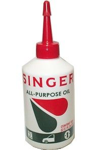 SINGER® ALL-PURPOSE OIL is a blend of oils selected to enhance adhesive properties for better distribution and to provide lubrication for longer periods than ordinary oils. The frequent use of SINGER® OIL prevents deterioration of domestic and industrial equipment. Not just for sewing machines! Use on fans, bicycles, door hinges, locks, home appliances, etc. Viscosity ISO-VG 10; 3.38 FL OZS. (100 cc)  $2.99