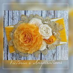 Vintage Headbands, Baby Girl Headbands, Baby Bows, Hair Bow Tutorial, Flower Tutorial, Satin Flowers, Fabric Flowers, How To Make Yellow, Fabric Flower Headbands