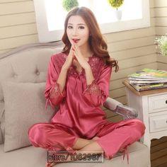 2017 Spring Summer Autumn Silk Women Pajamas Sets of Sleepcoat & Sleep Shorts Lady Nightdress Female Home Clothes Plus Size 3XL