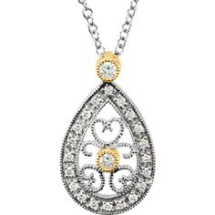 Mesmerize her with TheJewelryHut Fancy Designer Antique Retro Pear Shape Vintage Filigree Style Diamonds in 14 KT Two Tones Gold Necklace on 16 inches gold chain Adorned with 20 Genuine Brilliant Round Shape Diamonds, 1/6 CTTW. Diamonds is The Birth Gemstone for Women who celebrate their birthday in month of April.