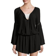 L Space Spirit Tassel-Tie Romper ($129) ❤ liked on Polyvore featuring jumpsuits, rompers, black, long-sleeve rompers, bell sleeve romper, playsuit romper, bell sleeve rompers and lace rompers