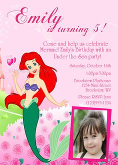 diy printable ariel little mermaid party photo invitations 1200 - Little Mermaid Party Invitations