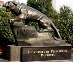 Pitt Panther Statue Outside at the  University of Pittsburgh