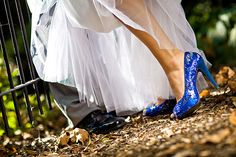 Traditionally brides wear blue, not green in the emerald isles. Faeries love green and brides, so it was very bad luck to wear green on ones wedding day- it tempted the faeries too much. Blue, however was the color for purity. Though most wear white now, they still add touches for tradition. These bridal shoes are double-cool, b/c they are TARDIS blue.