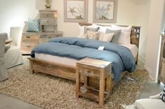 Create a rustic get away in the bedroom with a reclaimed bedroom set.