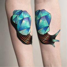 Cosmic snail tattoo by Aleksy Marcinow AleksyMarcinow graphic cosmic snail colorful trippy