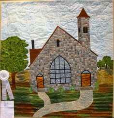 "The Stone Church, 43 x 42"", by Ruth LaCoe. Inspired By a rural church in SE Michigan. 2015 Sauder Village Quilt Show.  Photo by Fabric Therapy."