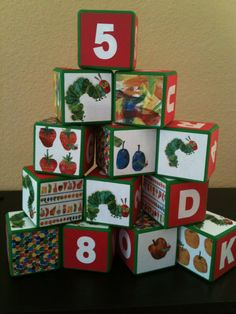 The Very Hungry Caterpillar Building Blocks by OllieBeez on Etsy, $39.95