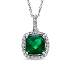 8.0mm Cushion-Cut Lab-Created Emerald and White Sapphire Frame Pendant in Sterling Silver - Zales
