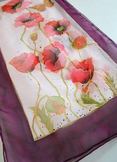 Silk Scarf Poppies Hand Painted silk scarf Scarf by AstaSilkWorld