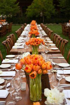 future harvest dinner table settings, wedding receptions, wedding ideas, tulip, orange weddings, orange flowers, fall weddings, floral designs, long tables