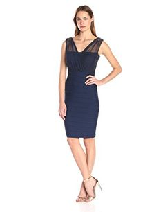 Sangria Women's Mesh and Ribbed Knit Sheath with Shoulder Detail