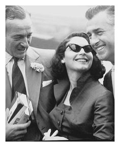 Ava Gardner with David Niven and Stewart Granger (filming 'Little Hut' in Rome) ~ 1956