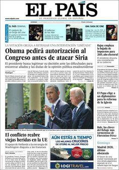 Los Titulares y Portadas de Noticias Destacadas Españolas del 1 de Septiembre de 2013 del Diario El País ¿Que le pareció esta Portada de este Diario Español?
