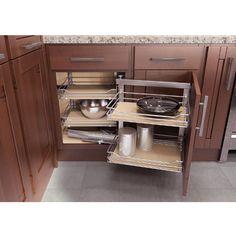 Kitchen Cabinet Organizers - Wari Corner Base Cabinet & Blind Corner Swing-Out And Slide System by Vauth-Sagel | KitchenSource.com