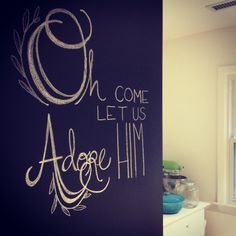 Christmas Chalkboard Wall in Kitchen | scotch&honey design Christmas Time Is Here, Merry Little Christmas, Christmas Signs, All Things Christmas, Christmas Holidays, Christmas Crafts, Chalkboard Wall Kitchen, Chalkboard Scripture, Scotch