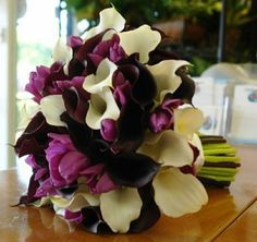 Wedding, Flowers, White, Purple, Bouquet, Tulips, Mini, Callas - Project Wedding