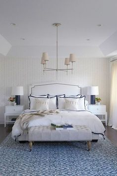 Beautiful blue room by designer /sabrinaalbanese/ | Feather Wallpaper and Border Frame Duvet Cover via /serenaandlily/