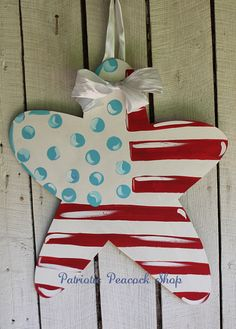 Americana Wooden Door Hanger Art Patriotic by PatrioticPeacockShop, $45.00