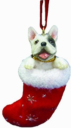 """French Bull Dog Christmas Stocking Ornament with """"Santa's Little Pals"""" Hand Painted and Stitched Detail >>> Read more reviews of the product by visiting the link on the image."""