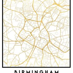 BIRMINGHAM ENGLAND CITY STREET MAP ART -  An elegant city street map of Birmingham, England in gold, with the exact coordinates of the city, make up this amazing art piece. A great gift for anybody that has love for this city. You can never go wrong with gold. I love my city.