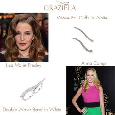 Our original ear cuffs are still making waves! Lisa Marie Presley shows us 1940's glamour with a modern twist in our Wave Ear Cuffs in White at the premiere of Mad Max. Anna Camp hits a high note in our Double Wave Ring in White at the Lucille Lortel Awards.