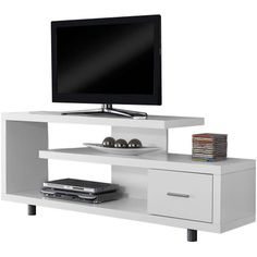 "Free Shipping. Buy Monarch Tv Stand White With 1 Drawer For TVs Up To 47""L at Walmart.com"